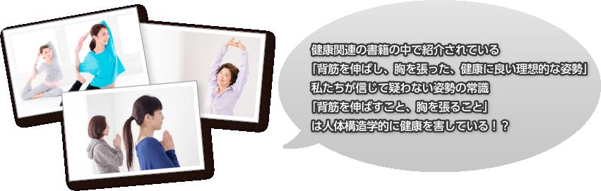 健康関連の書籍の中で紹介されている「背筋を伸ばし、胸を張った、健康に良い理想的な姿勢」私たちが信じて疑わない姿勢の常識「背筋を伸ばすこと、胸を張ること」は人体構造学的に健康を害している!?